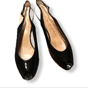 Bruno Magli black Peep Toe Patent leather shoes